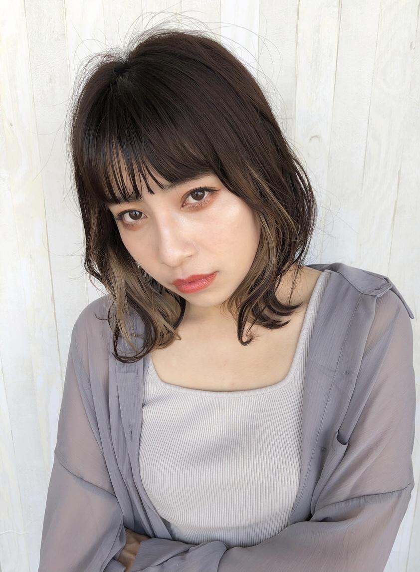 ☆★顔周りインナーカラー★☆ベージュ×パープル 美くびれヘア