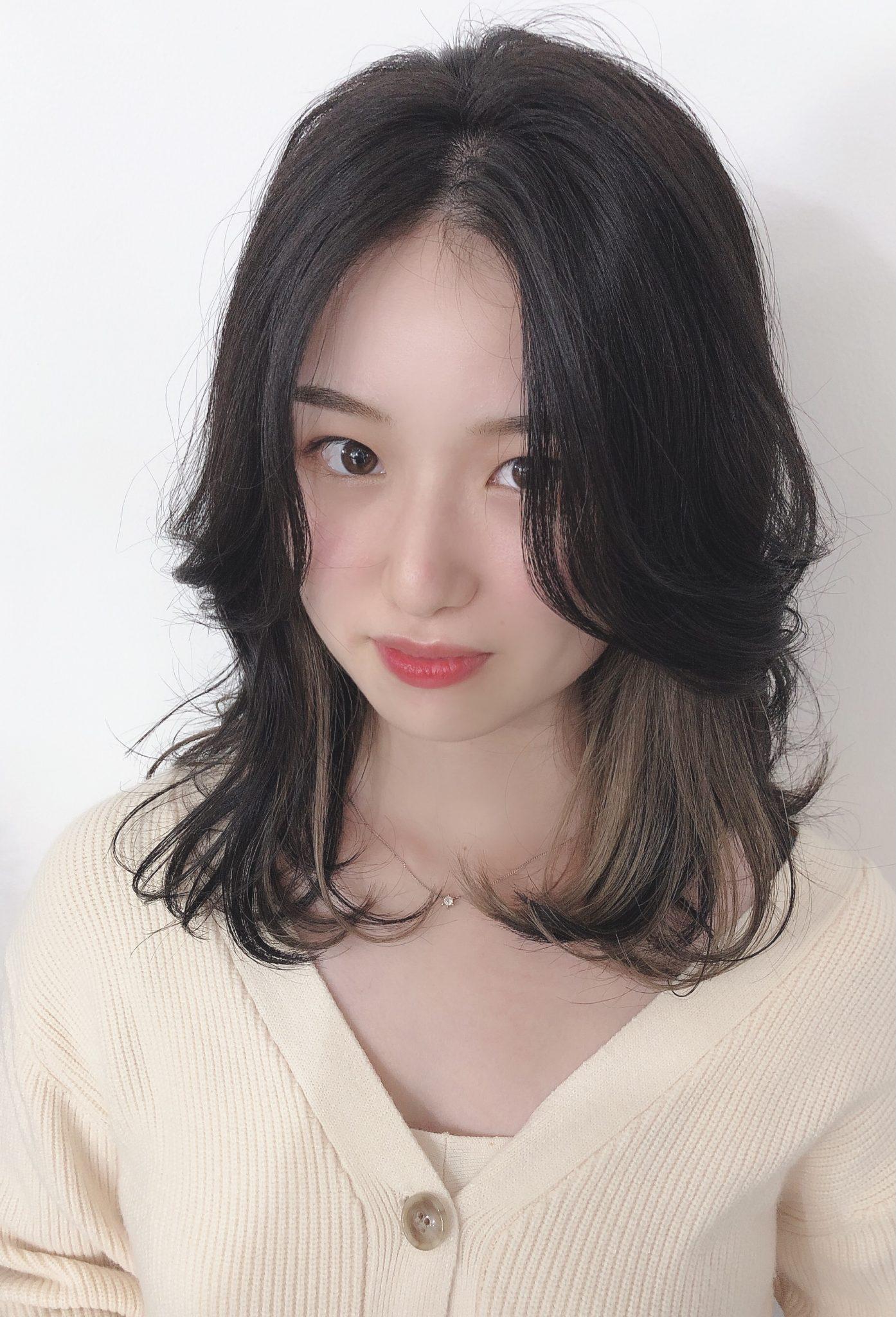 ☆★大人かわいいヨシンモリ★☆インナーカラー×かきあげ前髪